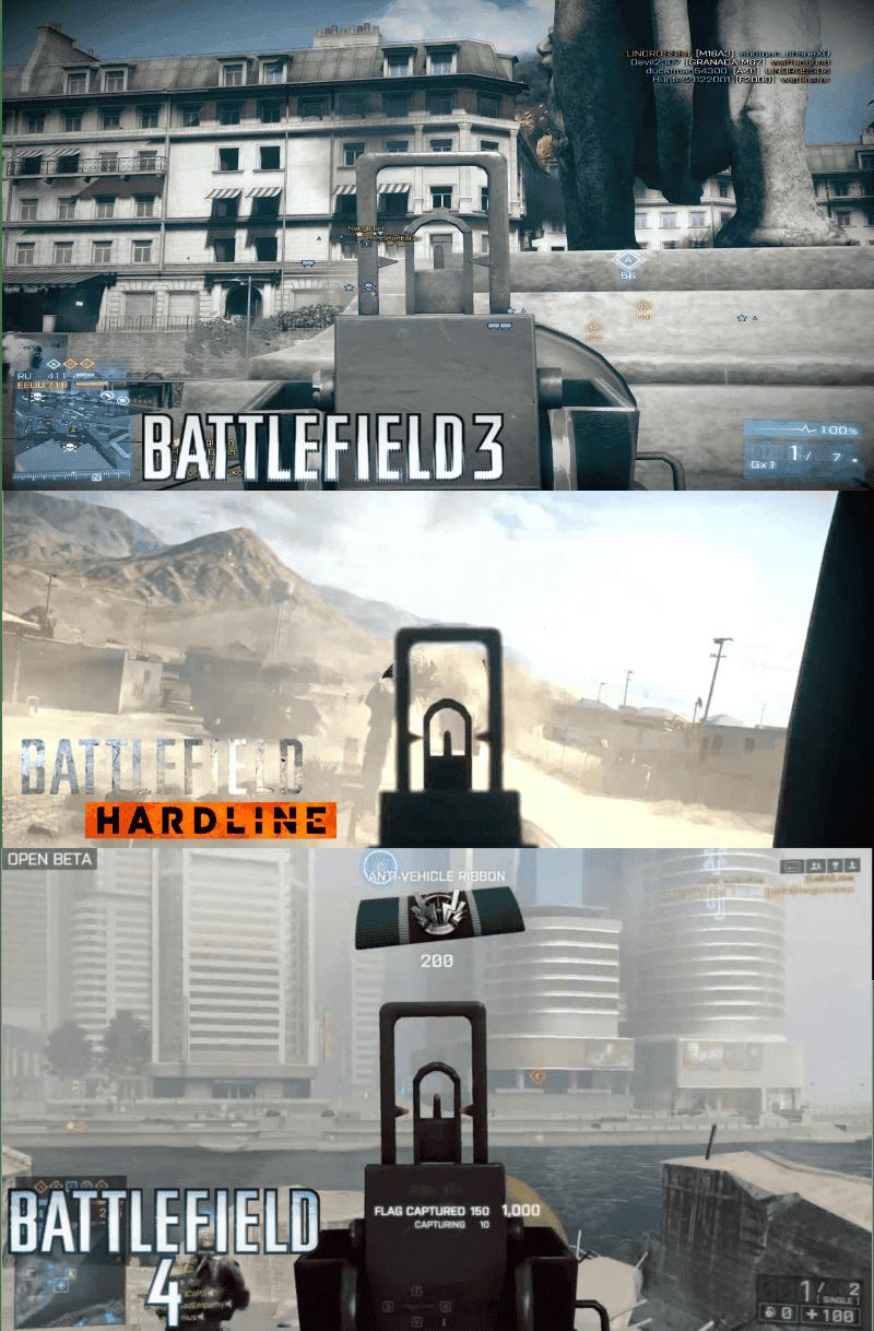 Comparativa entre los modelos de RPG de Battlefield 3, Battlefield 4 y Hardline.