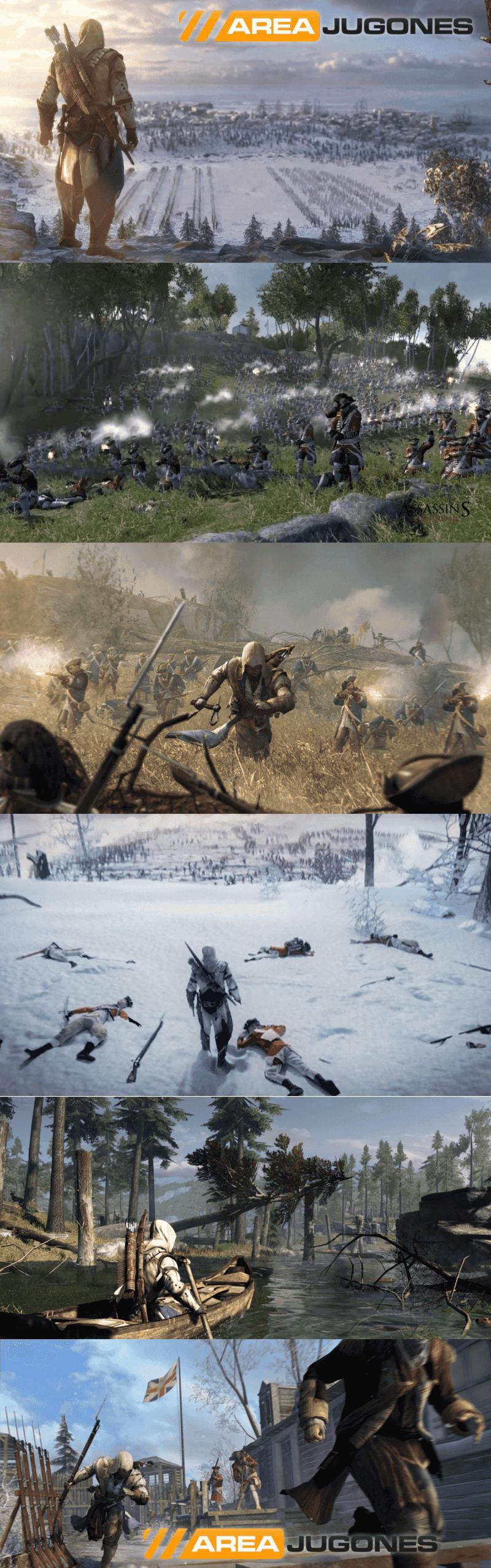 Varias screenshots de Assassin's Creed III donde se nos mostraron cosas que no salieron finalmente en el juego, aumentando el Hype, haciendo falsas promesas.