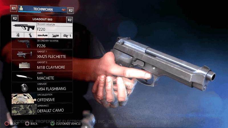 BF Hardline Menu seleccion armas