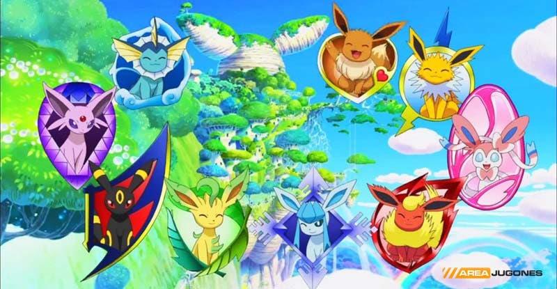 Eevee y sus 8 evoluciones posibles.