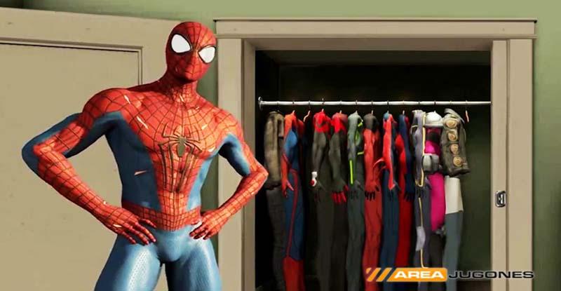 Spidey nos muestra orgulloso su armario ya que podrá lucir varios trajes.