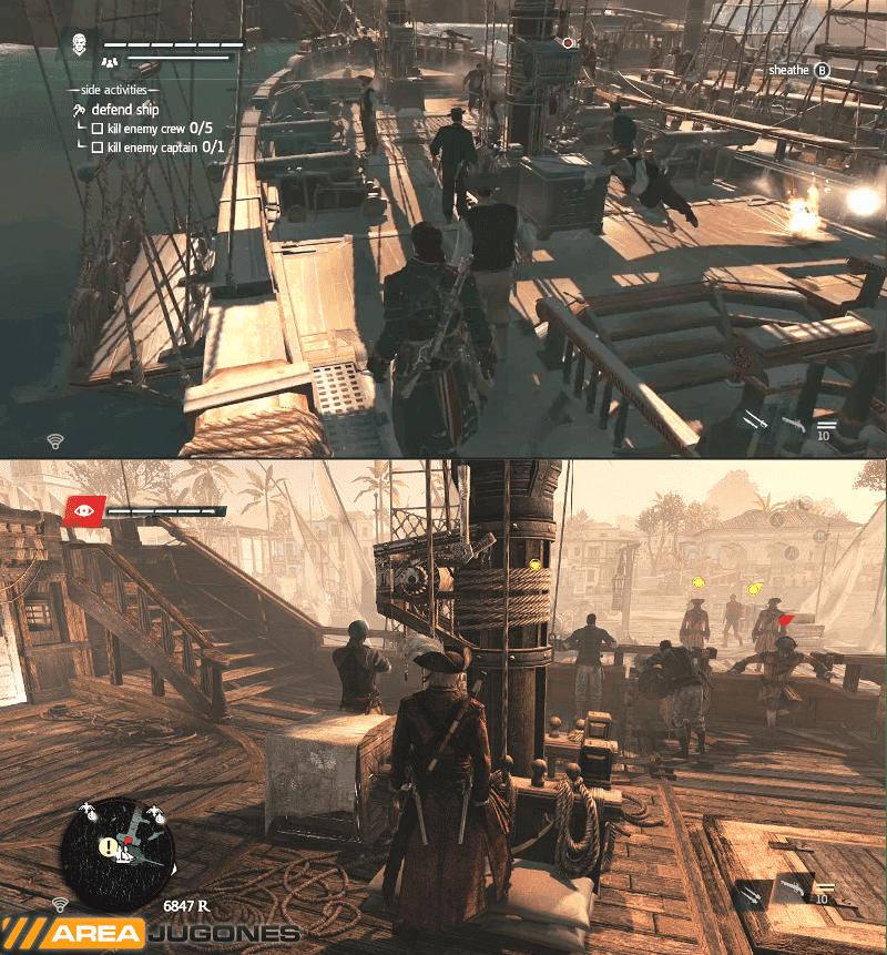 Comparación entre la cubierta del Morrigan (arriba) y el Jackdaw (abajo).