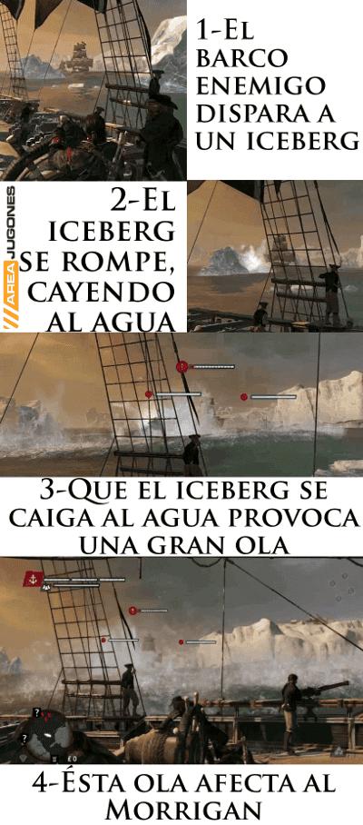 Sucesos que permiten que un iceberg provoque una ola que puede desestabilizar a cualquier barco. Los icebergs pueden ser destruidos por el enemigo, afectando al barco del jugador, y viceversa.