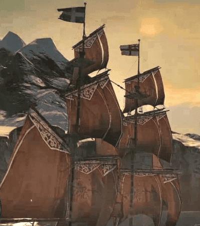 Detalle de las dos banderas del Morrigan.