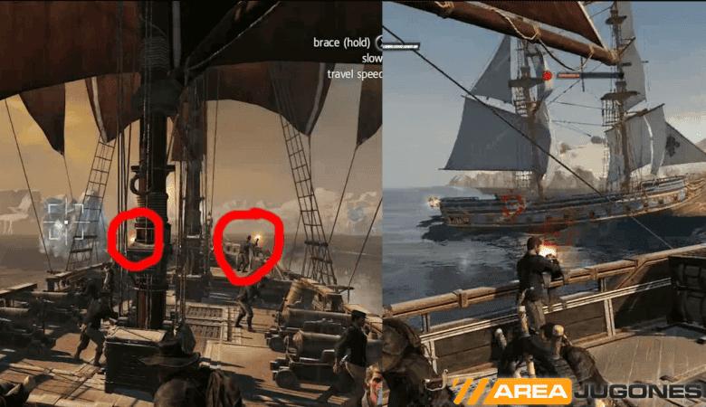 A la izquierda, detalle de las Puckle Gun, rodeadas en rojo. Aunque se está disparando al iceberg de la izquierda, por alguna razón la ametralladora derecha también dispara, pero al aire. A la derecha, una de las dos Puckle Gun traseras, disparando manualmente a los puntos débiles de un bergantín francés.