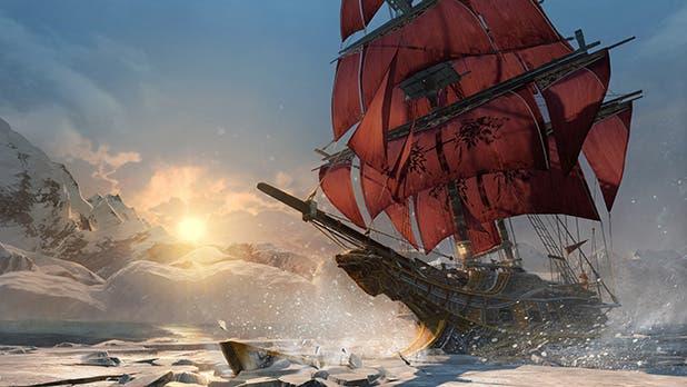 Imagen del Morrigan, el barco de Shay, rompiendo placas de hielo en el Ártico.