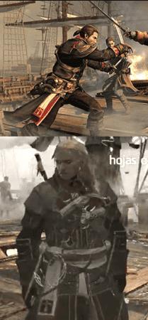 Comparativa entre el atuendo de Shay (Rogue) y la Armadura Templaria de Edward (Black Flag)