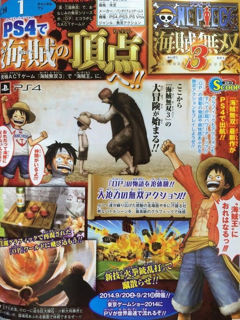 Scan de la revista Famitsu donde se anuncia One Piece: Pirate Warriors 3
