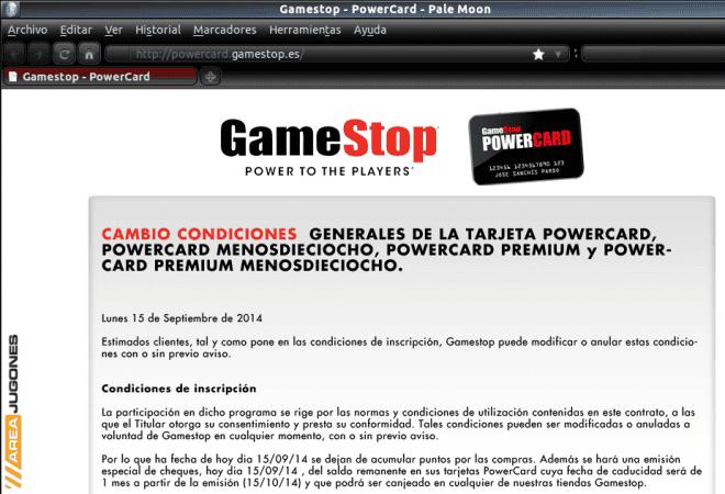 La página web de la tarjeta PowerCard de GameStop fue actualizada con un único anuncio a pantalla completa.