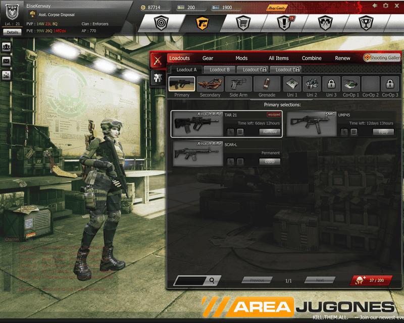 Captura de la pantalla de selección de armas.