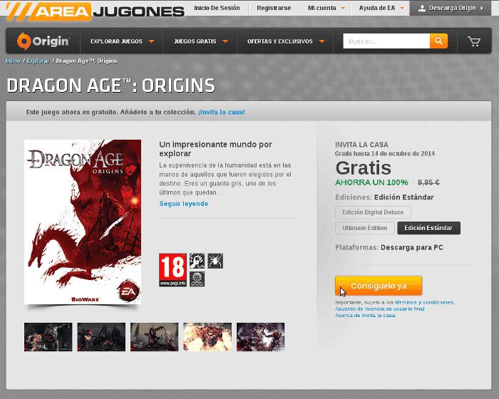 Dragon Age Origins gratis en Origin Areajugones