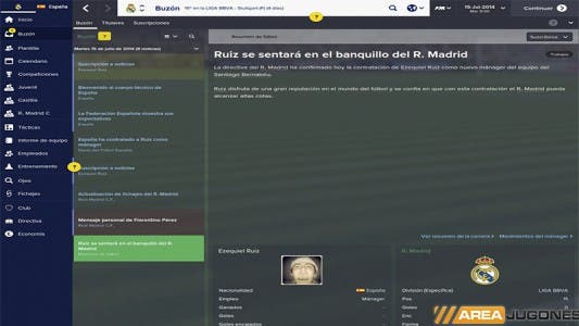 Football Manager 2015 Interfaz gráfica