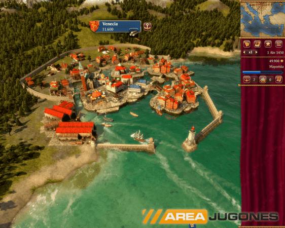 Así se ve la ciudad de Venecia en Rise of Venice. Desde esta ciudad controlamos todo lo relacionado con nuestro estado en general.