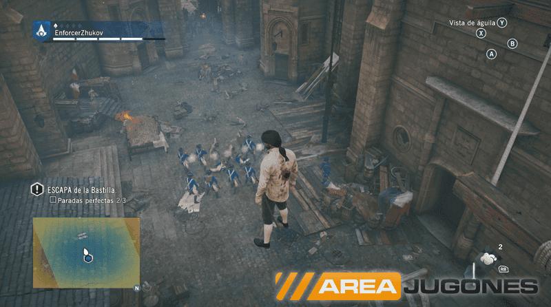 """Doble combo de imagen: Arno flotando en el aire, con una mancha de sangre con una calidad tan precaria que parece de PlayStation I. Por favor, que estamos en """"next-gen"""". ¿O no?"""
