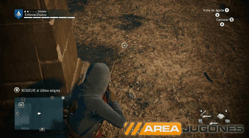 Arno apuntando con un mosquete desde una cobertura.