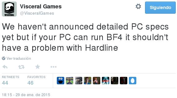 Visceral Games-tweet requisitos BFHardline - Areajugones