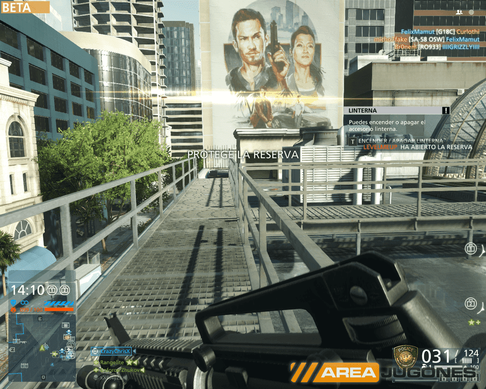 El mapa del banco (Centro) nos brinda una combinación de combate urbano, cercano y cerrado en varias alturas.