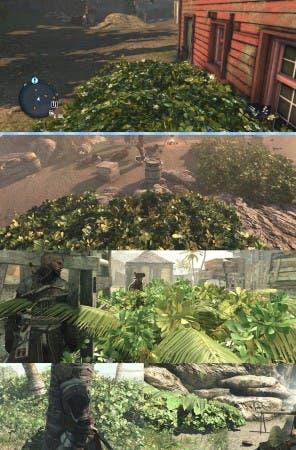 Comparación entre los matorrales de Assassin's Creed Rogue (arriba) y Black Flag (todas las demás imágenes), todas tomadas en las versiones de PC, bajo el mismo equipo. En Black Flag, esta vegetación se compone de varios tipos de plantas, y se mueve más con el clima, y al pasar sobre ella.