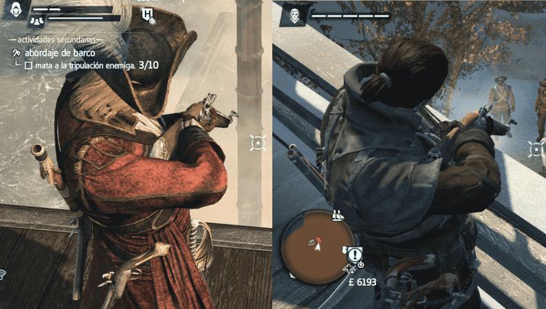 Comparación gráfica entre Black Flag (izquierda) y Rogue (derecha), en el mismo PC. Nótese que el mosquete de la imagen izquierda (AC4) posee más detallismo gráfico que el de la derecha (Rogue), cosa que se ve perfectamente fijándonos en las vetas de la madera. Black Flag se ejecutó con texturas en Alto (no máximo), y efectos en medio-alto. Rogue se ejecutó con TODOS los parámetros al máximo (excepto resolución, que fue la misma en ambas capturas). Además, la captura de la izquierda se tomó con peor calidad que la derecha.