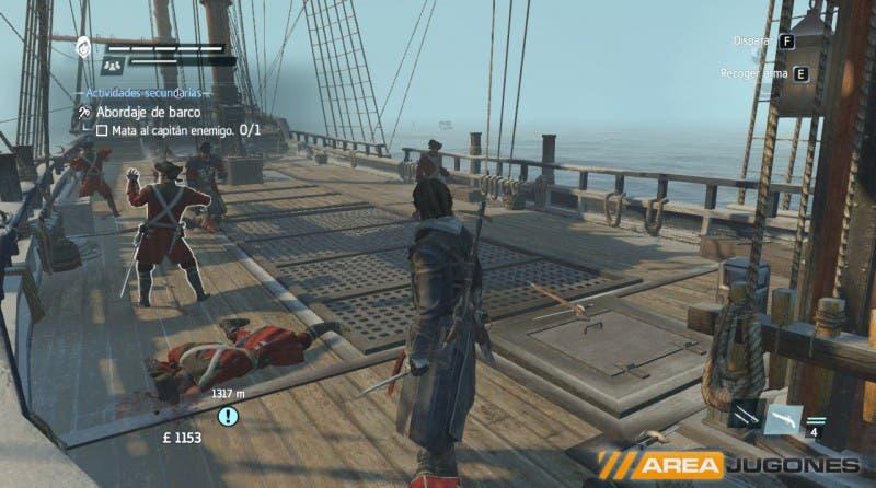 ¿Un abordaje en el que mi tripulación no salta al barco enemigo, y los enemigos disparan con mosquetes invisibles? ¡Suena bien!