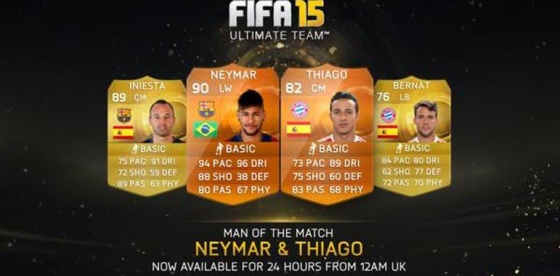 Neymar y Thiago Alcántara, nuevos MOTM para FIFA 15 Ultimate Team