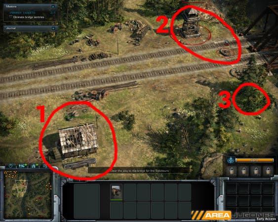 En rojo, la posición 1 es un edificio con un francotirador dentro. Este francotirador no puede disparar a ninguno de los enemigos que están dentro de la zona 2. Para ello, no puede estar más lejos de la posición 3.