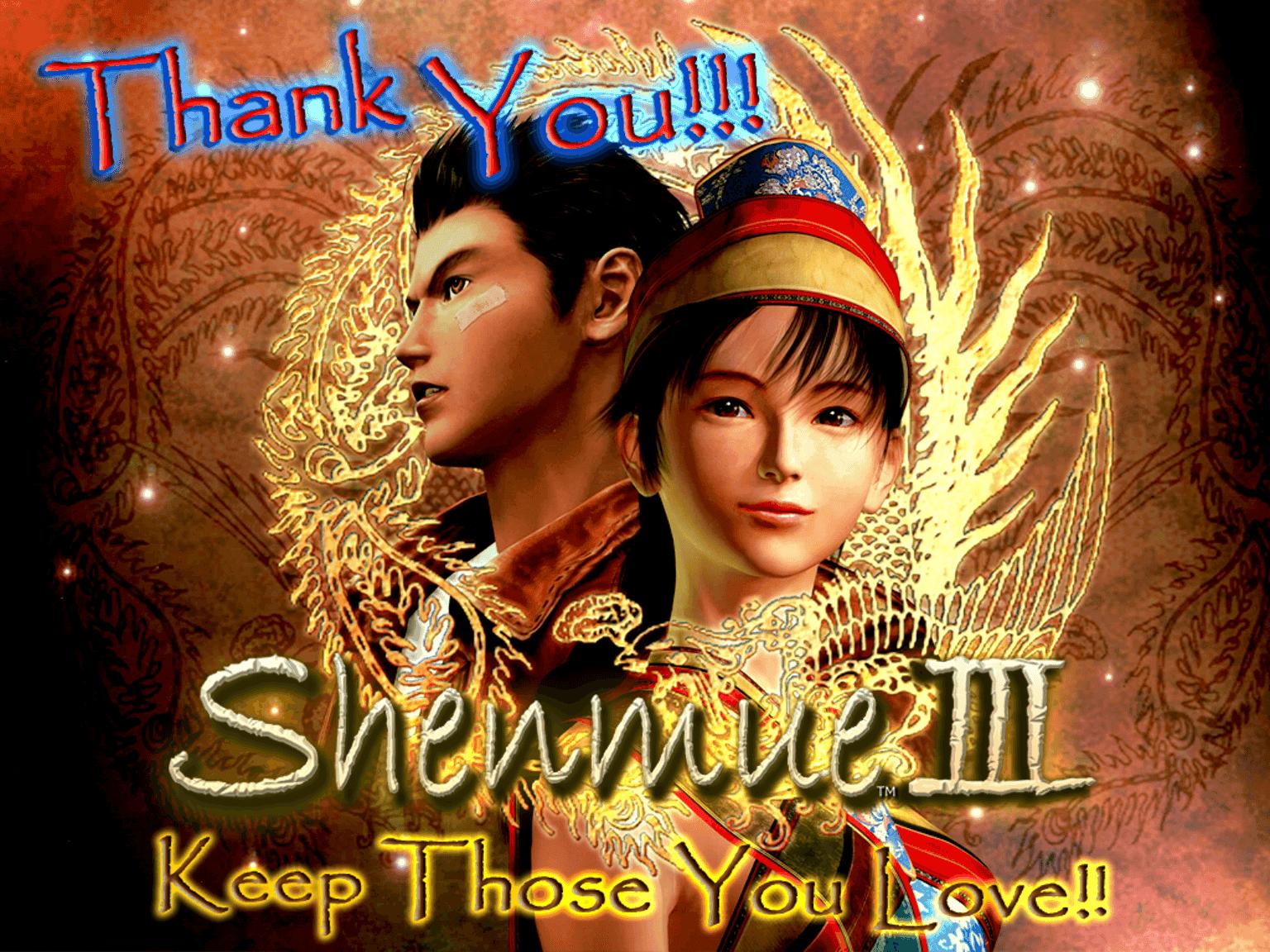 shenmue 3 agradecimiento