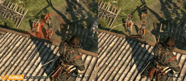 Shay lanzando una granada con gas somnífero a un grupo de enemigos.