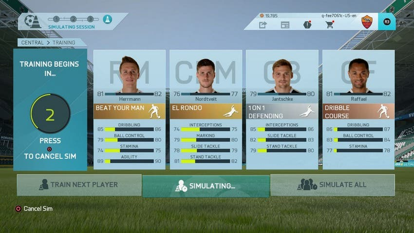 FIFA 16 Career Traininig (In Menus)