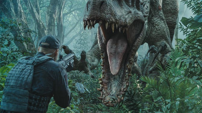 """The Indominus rex readies her attack in """"Jurassic World"""". Steven Spielberg returns to executive produce the long-awaited next installment of his groundbreaking """"Jurassic Park"""" series. Colin Trevorrow directs the epic action-adventure, and Frank Marshall and Patrick Crowley join the team as producers."""