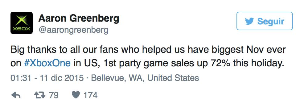 Aaron Greenberg cree que ha sido el mejor noviembre de la historia de Xbox One