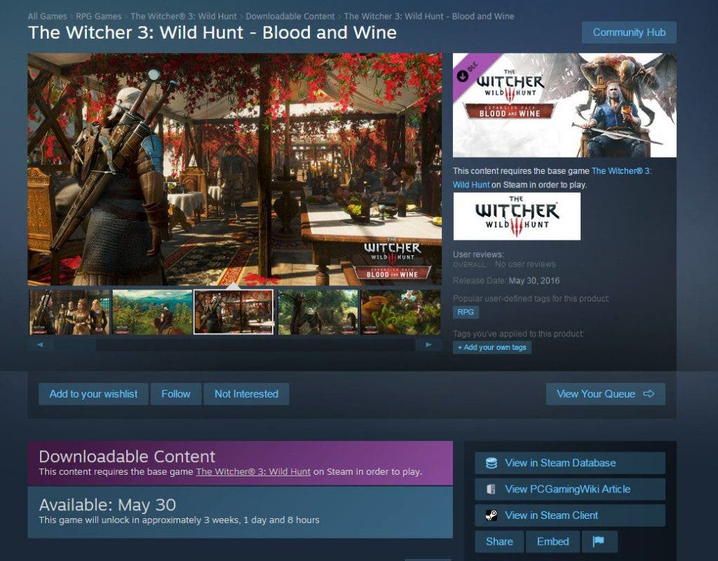 witcher 3 blood and wine filtracion fecha