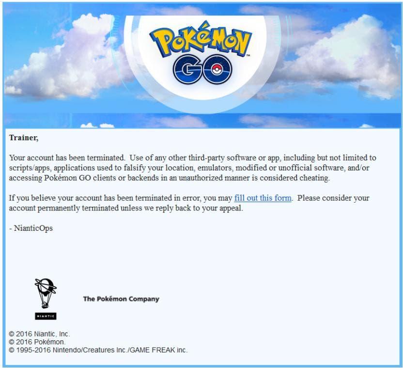 Baneos Pokémon GO