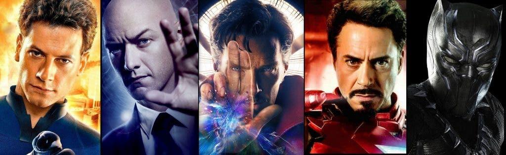 Estos son los actores que han interpretado a los miembros de los Illuminatti en el cine (Miles Teller, James McAvoy, Benedict Cumberbatch, Robert Downey Jr., y Chadwick Boseman)