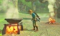 Un jugador de The Legend of Zelda: Breath of the Wild se enfrenta a Molduga con un ejército de cuccos