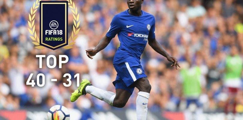 Siguen mostrándose los mejores jugadores de FIFA 18, hoy del 40 al 31