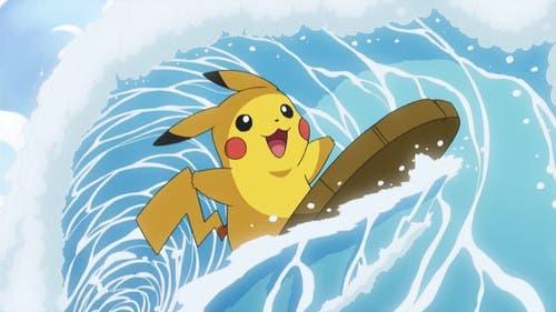 Imagen de Pokémon: Let's Go Pikachu/Eevee muestra al ratón eléctrico practicando surf