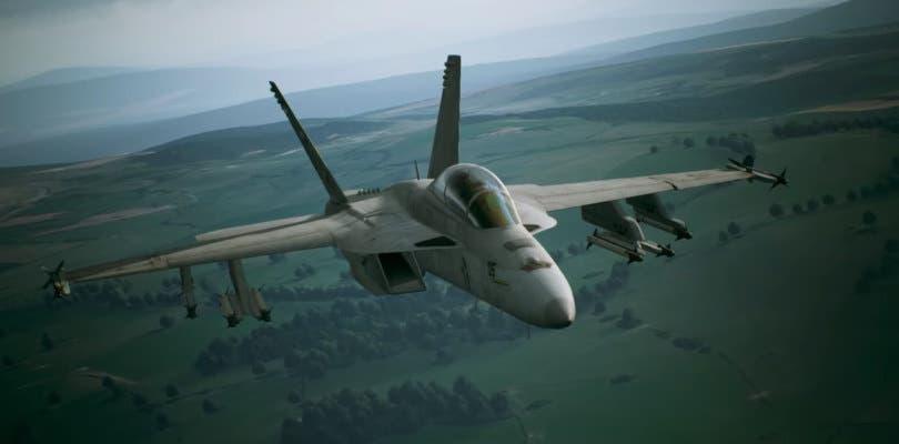 El F/A-18F Super Hornet de Ace Combat 7 se muestra en movimiento