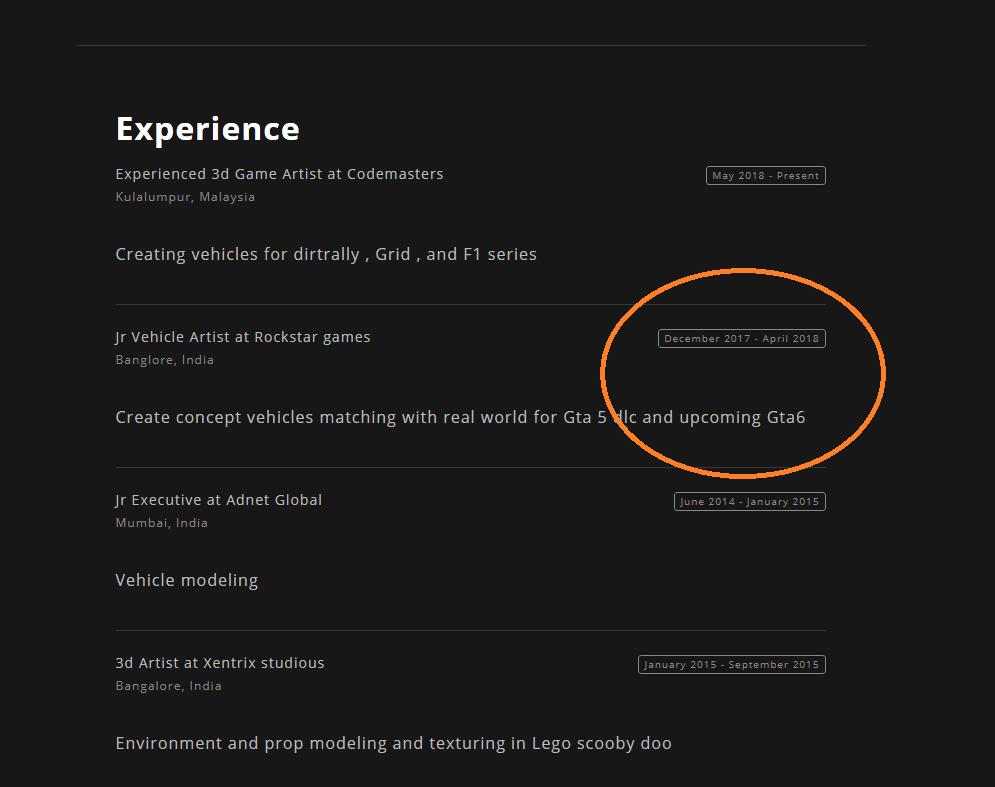 Imagen de GTA 6 aparece en el currículum de un extrabajador de Rockstar