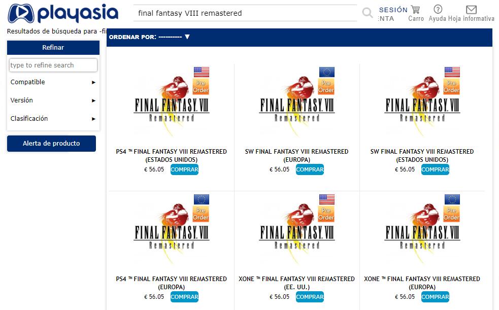 Imagen de Una edición física de Final Fantasy VIII Remastered vuelve a aparecer listada en una conocida tienda oriental