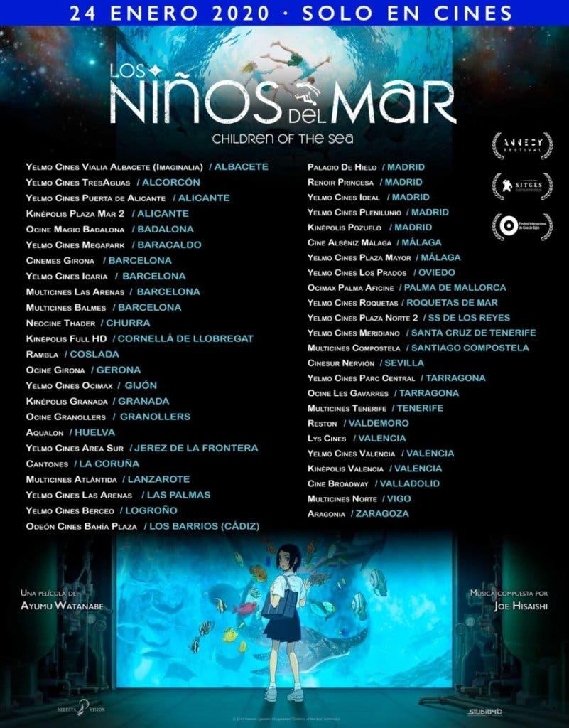 los ninos del mar lista cines