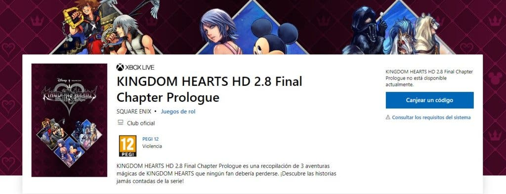 Imagen de Kingdom Hearts HD 2.8 Final Chapter Prologue aparece en la Microsoft Store con fecha de lanzamiento