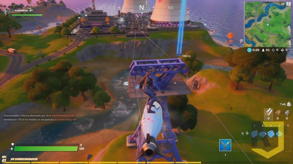 Imagen de Desafío de Fortnite: monta en Acumulaciones Airadas y en una tirolina, y utiliza un pasadizo secreto
