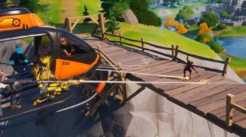 Imagen de Desafío de Fortnite: Vuela con un Choppa bajo el Puente de Acero Púrpura, Rojo y Azul