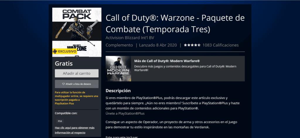 Paquete de Combate en PlayStation Store