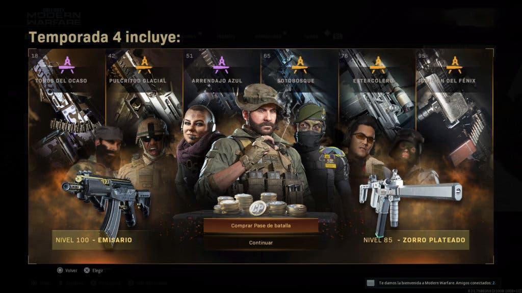 Pase de batalla temporada 4 Modern Warfare y Warzone