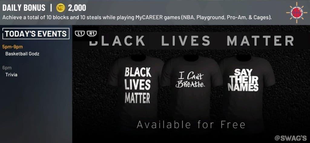 nba 2k20 black lives matter camisetas