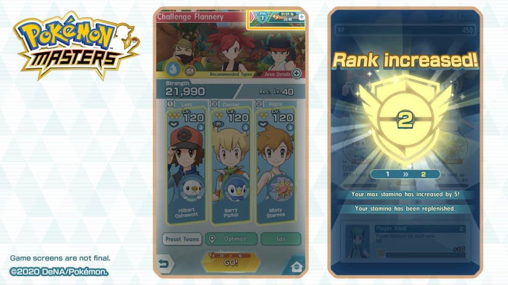 Pokémon Masters rango de entrenador