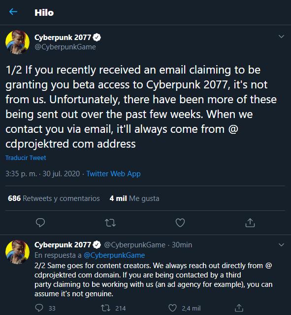 Si recibes una 'beta' de Cyberpunk 2077 podrías estar siendo estafado