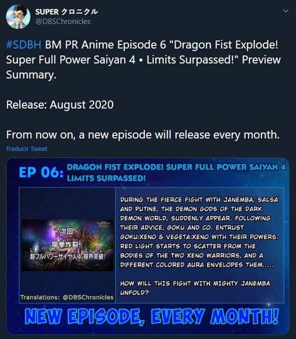 El capítulo 26 de Dragon Ball Heroes llega en agosto; los estrenos serán mensuales